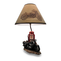 Zeckos - Pause Life's Journey Black Retro Motorcycle 19 Inch Table Lamp - This awesome table lamp features a black vintage motorcycle parked in front of a gas pump. Measuring 19 inches tall, including the Harley Heritage Softail print 12 inch diameter shade, the lamp is a wonderful decorative accent for motorcycle enthusiasts. It uses regular A Type, CFL or LED light bulbs up to 60 watts.