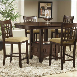 Bernards - Randolph Round Pub Table w Leaf in Cherry Fin - Stools not included. 18 in. Leaf. Without leaf: 60 in. L x 36 in. H (111 lbs.). With leaf: 60 in. L x 42 in. W x 36 in. H