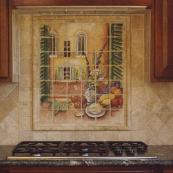 """Italian Window Scene Mural - Hand Painted stone tile mural. 36"""" x 42"""". This mural was installed as an accent piece to give this kitchen an old world feeling."""