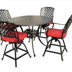 Kontiki - Kontiki Dining Sets - Metal Bar & Balcony Height - [1.0 set/set]   Malleable in design and robust in structure, the Kontiki Bordeaux Collection adds style and substance to any outdoor space. The marrying of traditional and modern elements of French-inspired design, this collection is an excellent addition to any outdoor décor from chateau to cottage.     Advanced, resilient design and aesthetic       Promising low maintenance and an anti-corrosive surface, the cast aluminum composition of these patio sets offer a sleek and sturdy effect. Unlike wrought iron that begins to rust and break down structurally and aesthetically over time, the cast aluminum finish hones and refines its historic charm as it wears. The black coloring of the frames is accented by a gold-hued antique patina underneath that imbues a quaint, rustic quality to its surroundings. Complimented by the soft, round edges of the each frame, as well as a classic slat weave design, the Bordeaux Collection is at home in any contemporary or modern outdoor setting.    Less hassle, more savings      Patio Furniture is a big investment both financially and physically. We know that the sting of transporting and unloading these logistical nightmares can be just as hard on your wallet as it can on your back; that's why we work every day to eliminate both pain points from your customer experience. We're constantly vetting the industry and engaging the best suppliers in the market to ensure we source only the finest quality products. By building these strong relationships, we are able to work in tandem with top tier manufacturers to eliminate unnecessary costs and guarantee unparalleled pricing.