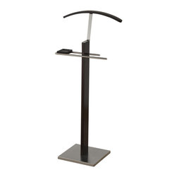 None - Delta Solid Wood Satin Metal Valet Stand - The DELTA valet stand oozes contemporary charm. The sturdy,stainless steel base and handy hangers and tray are practical and stylish,The combination of the rich cappuccino and the satin finished metal puts this piece in a class all its own