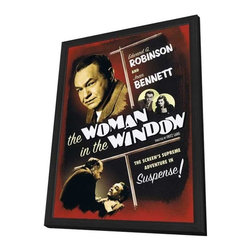 The Woman in the Window 11 x 17 Movie Poster - Style A - in Deluxe Wood Frame - The Woman in the Window 11 x 17 Movie Poster - Style A - in Deluxe Wood Frame.  Amazing movie poster, comes ready to hang, 11 x 17 inches poster size, and 13 x 19 inches in total size framed. Cast: Edward G. Robinson