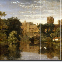 Picture-Tiles, LLC - Warwick Castle England Tile Mural By Jasper Cropsey - * MURAL SIZE: 24x40 inch tile mural using (15) 8x8 ceramic tiles-satin finish.