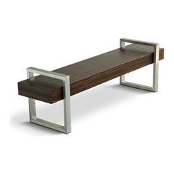 Gus - Gus Return Bench - The warm, natural woodgrain of the beam contrasts nicely against the stainless steel supports. Non-marking leveler feet can be adjusted for stability on uneven floor surfaces.