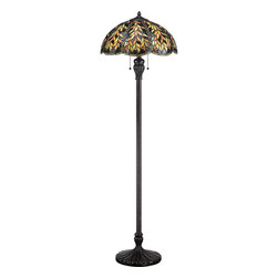 Quoizel Lighting - Quoizel Lighting TFBL9360IB Belle Tiffany Floor Lamp - The forest and lush greens used on this organic motif enhances the intricate leaf pattern used on the shade and base. Belle is a perfect blend of natural elegance and traditional appeal. The shade contains 632 art glass pieces that are hand-assembled using the copper-foil technique developed by Louis Comfort Tiffany. The beautiful imperial bronze base is captivating with its delicate and open style. It is sure to enhance any rooms' decor.