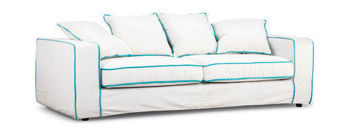 Zuo - Key West Sofa - The Key West Sofa is upholstered in linen coloured fabric with an aqua trim and has a wooden frame