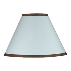 Sweet Jojo Designs - Hotel Blue & Brown Lamp Shade - Hotel Blue & Brown Lamp Shade by Sweet Jojo Designs is a beautifully designed children's lamp shade that is made to fit small desk-sized lamp bases (base not included).  The lampshade attaches securely on the lamp's light bulb socket and the light bulb is twisted in through the opening at the top.