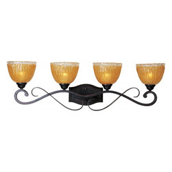 Joshua Marshal - Four Light Oil Rubbed Bronze Amber Ice Glass Vanity - Four Light Oil Rubbed Bronze Amber Ice Glass Vanity