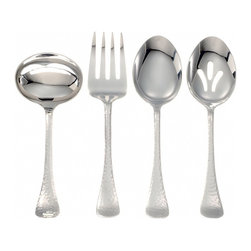Ginkgo - Lafayette 4-Pc. Flatware Hostess Set in Hammered Finish - Includes 1 pierced serving spoon, 1 serving spoon, 1 cold meat fork and 1 sauce ladle. Rustic, hammered-look. Bell-shaped handle. Dishwasher safe. Material: 18/0, stainless steel. Hammered finishLafayette's hammered finish captures the look of antique sterling, where the craftsman's careful plenishing blows added intricate design to the  simplest of forms. Here, the common round tip becomes a detailed and sparkling design that adds rich complement to a casual brunch or a formal dinner….truly, the perfect pattern for every occasion.