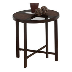 Jofran - Jofran 506-3 Roswell Round Glass End Table in Synthetic Stone and Steel - Style your home with this beautiful collection. The unique stone and steel finish is sure to show off your homes individuality and nesting tables that are high on style and take up little space due to the versatile design. With durable construction you are sure to enjoy this collection for years to come.