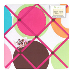 Sweet Jojo Designs - Deco Dot Fabric Memo Board - The Deco Dot Fabric Memo Board with button detail is a great way to display photos, notes, and postcards on your child's wall. Just slip your mementos behind the grosgrain ribbon to create an engaging piece of original wall art. This adorable memo board by Sweet Jojo Designs is the perfect accessory for the matching children's bedding set.