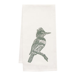 "artgoodies - Organic Kingfisher Tea Towel - This high quality 100% certified organic cotton tea towel was custom made just for artgoodies! Hand printed with one of my original linocut block print images it measures 20""x28"" and comes wrapped in a green ribbon made from 100% recycled plastic bottles! Nice and absorbent for drying dishes, looks great when company is over, and makes a great housewarming gift!"