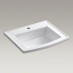 KOHLER White Archer® Drop-in Bathroom Sink - Archer offers a timeless appeal, blending subtle elements of Craftsman woodworking techniques and the intricate facets of jewelry. Distinguished by its beveled edges and clean geometry, the Archer sink creates a universal look that suits an array of bathroom styles.