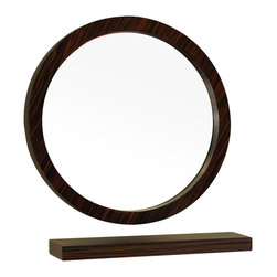 "Bellaterra Home - 21.7 Inch Round Mirror-Wood-Ebony-Zebra - Simple wood frame with veneer mirror will jazz up any bathroom with its unique ebony zebra finish. It is simple yet with style. The mirror itself is a high quality 0.6"" thick mirror prevent rusting against bathroom. It is properly sealed to prevent water damage or bathroom humidity."