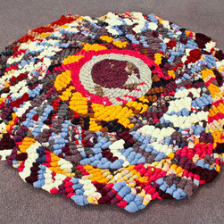 EcoFirstart.com - large braided area rug.This rug is so cush, that your feet will melt. It is a OOAK hand braided/knotted/woven wool and wool blend rug. It is constructed of new wool fabric, upcycled wool blankets, and upcycled wool clothing. It's twined together with strong linen yarn. It is perfect for a bedroom or living area.