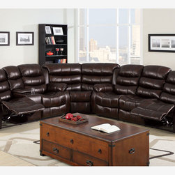 Transitional Brown Leather Reclining Sectional Sofa Recliner Couch Cup - This versatile living room group has multiple options for comfort! Upholstered in sturdy brown leather-like vinyl, each piece has a comfy recliner or handy drink tray.
