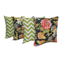 Land of Pillows - Chevron Greenage Green and Pierette Licorice Outdoor Throw Pillows - Set of 4, 1 - Fabric Designer - Mill Creek