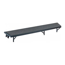National Public Seating - Tapered Riser w Carpet (78 in. L x 18 in. W x - Choose Size: 78 in. L x 18 in. W x 32 in. HProducts meet or exceed applicable ANSI/BIFMA standards. Carpeted plywood deck. Quick set up and easy storage. 16 gauge formed steel channel frame, reinforced with 16 gauge steel angle welded to the inside of the channel. Equipped with drop-in couplings that allow units of same or different heights to be joined together. Exceeds 200 lbs. per square foot load bearing capacity. Outfitted with ganging to easily connect multiple stages. Legs with 14-gauge steel tubing capped at the point of floor contact with high impact plastic glides. Legs open and close using only one hand. Warranty: 10 years. Made from 0.75 in. solid plywood core and steel. 60 in. L x 18 in. W x 8 in. H. 66 in. L x 18 in. W x 16 in. H. 72 in. L x 18 in. W x 24 in. H. 78 in. L x 18 in. W x 32 in. H