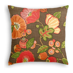 Red & Orange Modern Floral Custom Throw Pillow - The every-style accent pillow: this Simple Throw Pillow works in any space.  Perfectly cut to be extra fluffy, you'll not only love admiring it from afar but snuggling up to it too!  We love it in this large playful floral in bright reds, oranges & browns. feel the poppy love with this modern print.