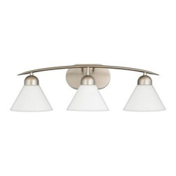 Quoizel Demitri 3-Light Bath Fixture - 26W in. Empire Silver - About Quoizel LightingLocated in Charleston South Carolina Quoizel Lighting has been designing timeless lighting fixtures and home accessories since 1930. They offer a distinctive line of over 1 000 styles including chandeliers lamps and hanging pendants. Quoizel Lighting is the perfect way to add an inviting atmosphere to any area in your home both indoors and out.