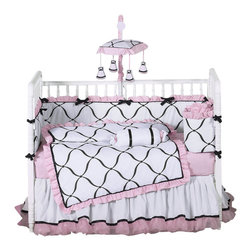 Sweet Jojo Designs - Princess Black, White and Pink 9-Piece Baby Crib Bedding Set by Sweet Jojo Desig - The  baby bedding by Sweet Jojo Designs includes: comforter, bumper, dust ruffle, fitted sheet, toy bag, pillow, diaper stacker and 2 window valances.