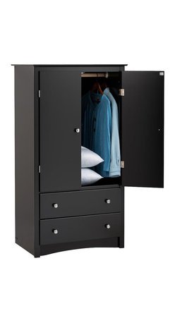 Prepac - 2-Door Armoire - Includes a tipping restraint. Two full size drawers. Adjustable shelf inside the cabinet. Curved top edges and arched base panel. Solid brushed nickel knobs. Metal glides with built-in safety stops. Clear lacquered real wood drawer sides. Sturdy MDF backer. Warranty: Five years. Made from CARB-compliant, laminated composite woods. Black finish. Made in North America. Opening: 28 in. W x 20.75 in. D x 38 in. H. Drawer: 24.75 in. W x 12.5 in. D x 5 in. H. Overall: 31.5 in. W x 22 in. D x 58.75 in. HCant decide what youre planning to store in your bedroom? The Sonoma two door armoire is versatile enough to accommodate just about anything you choose! Make the cabinet behind the double doors an entertainment center for a small TV or use the hanging rod to store the clothes that just dont fit in your closet. You can even use the adjustable shelf as a space for shoes, accessories or any other everyday items.