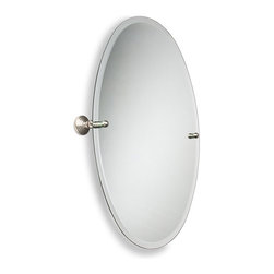Allied Brass - Oval Bathroom Tilt Wall Mirror with Beveled Edge - Enhance your bathroom decor with a beautiful oval mirror with a beveled edge. This solid brass mirror tilts to allow for different viewing angles.