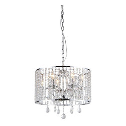 Warehouse of Tiffany - Kirke Chrome Chandelier - Add some elegance to your home with this Kirke Chrome Chandelier. This dynamic lighting element features generous rows of cascading crystals to catch the light. Product details:Setting: IndoorFixture finish: ChromeMaterial: Metal, crystalSwitch: Hardwired (requires professional installation)Number of lights: Six (6)Requires 60W bulb, bulb not includedDimensions: 22 inches long x 18 inches wide x 16 inches highThis fixture does need to be hard wired. Professional installation is recommended.(This disclaimer does not apply to floor and table lamps)Attention California Residents: This product contains Lead, a chemical known to the State of California to cause cancer and other reproductive harm.CSA Listed, ETL Listed, UL Listed