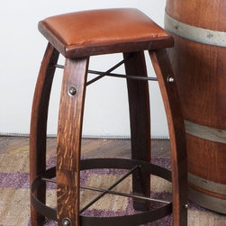 2 Day Designs Reclaimed 24 in. Stave Counter Stool with Leather Seat - Add stylish, comfortable seating with the 2 Day Designs 24 in. Stave Counter Stool with Leather Seat. Perfect for your kitchen, breakfast nook, or other dining area, this counter stool boasts a casual, rustic style. It features a luxurious cowhide leather seat for added comfort. The legs are made from recycled white oak wine barrel staves, while wrought-iron reinforcements provide sturdy support. Fine craftsmanship ensures this counter stool will withstand daily use and remain a favorite part of your seating arrangements. Overall dimensions: 20W x 20D x 24H inches, Seat Height: 24 inches. Please note: This item is not intended for commercial use. Warranty applies to residential use only. About 2-Day Designs, Inc.2-Day Designs, Inc. is a proud manufacturer of unique home furnishings. For those looking for a little something different, browse the company's collections and you will certainly find it with designs that will make a statement in any room of your home. From dining tables and chairs to occasional tables, and from hutches and cupboards to keepsake boxes and trunks, you are sure to fall in love with something from the 2-Day Designs collections. Environmentally conscious, 2-Day Designs uses recycled, antique lumber whenever possible. All 2-Day Designs pieces are crafted with the highest quality standards from start to finish.