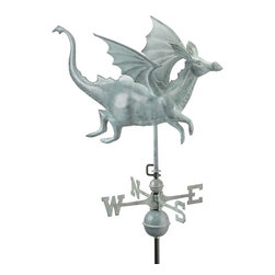 Good Directions, Inc. - Good Directions Dragon Weathervane - Blue Verde Copper - He doesn't breathe fire, but this winged dragon is sure to ward off bad luck while he flies over the rooftop of your house, barn, garage, or cupola. Our Good Directions artisans use Old World techniques to handcraft this fully functional, standard-size weathervane that's unsurpassed in style, quality and durability. A great gift for fantasy enthusiasts!