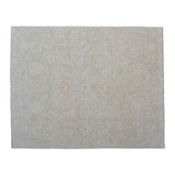 Beige Fine Peshawar Rug, 8'X10' 100% Wool Hand Knotted Area Rug SH11023 - Hand Knotted Oushak & Peshawar Rugs are highly demanded by interior designers.  They are known for their soft & subtle appearance.  They are composed of 100% hand spun wool as well as natural & vegetable dyes. The whole color concept of these rugs is earth tones.
