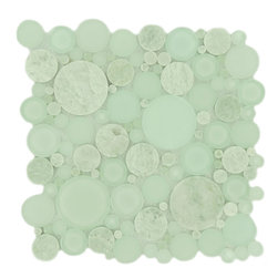 "Euro Glass - Bubble Moonstone  Circles Green Lagoon Series Glossy & Frosted Glass and Stone - Sheet size:  12"" x 12""        Tile Size:  Circles        Tiles per sheet:  120        Tile thickness:  1/4""        Grout Joints:  1/8""        Sheet Mount:  Mesh Backed        MATCHING 4"" X 12"" BORDER AVAILABLE       Sold by the sheet    -"