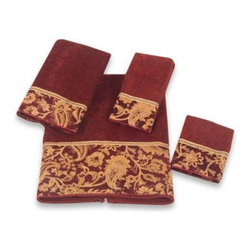 Avanti - Avanti Arabesque Bath Towel - The rich red Arabesque Collection has an elegant gold-colored chenille paisley embellishment. Finished with a coordinating gold-colored braid, these towels are a regal addition to your bathroom decor.