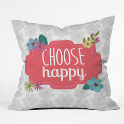 DENY Designs - Lara Kulpa Choose Happy Outdoor Throw Pillow - Do you hear that noise? it's your outdoor area begging for a facelift and what better way to turn up the chic than with our outdoor throw pillow collection? Made from water and mildew proof woven polyester, our indoor/outdoor throw pillow is the perfect way to add some vibrance and character to your boring outdoor furniture while giving the rain a run for its money. Custom printed in the USA for every order.