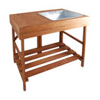 Hardwood Potting Table - You can be a wizard in the garden with this potter's bench. Made of harvested hardwood with a sturdy shelf and steel soil basin, clean up is like magic. Wave your wand and it folds for easy storage.