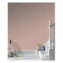 Graham & Brown - Ling Wallpaper - The eastern design inspires the trellis effect of geometric wallpaper, the mix of textures and heights within the design give a stunning three dimensional effect and the metallic highlights add a touch of decadence. The beige and red blends really well which will add warmth to your home.