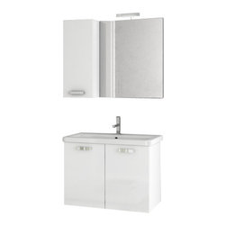 ACF - 30 Inch Glossy White Bathroom Vanity Set - This contemporary style vanity is part of the ACF City Play collection and comes in a glossy white finish.