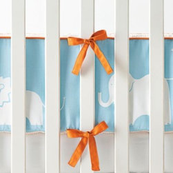 Serena & Lily - Ben Crib Bumper - This aqua-and-orange safari has all the makings of a mix-and-match adventure. Dots, solids, stripes, more orange, more aqua This design is a breeze to work with.
