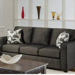 """Chelsea Home Bergen Sofa - Talbot Onyx - Contemporary design and an attractive mix of textured fabric make this Chelsea Home Bergen Sofa - Talbot Onyx a modern, eye-pleasing addition to a living room or basement den. An ideal spot to gather with friends for cocktails or a resting place for you to enjoy an evening of television by yourself, the sofa's upholstery comes in a dark gray and is comprised of 68 percent polypropylene and 32 percent polyester. That fabric covers both a durable frame crafted from solid hardwood and fully reversible foam cushions with Dacron wraps that prevent sliding when you lean forward to grab your smartphone off the coffee table or lean over to rest on one of the set's two patterned white-and-gray throw pillows. The sofa's cushions also contain an innovative sinuous spring system that maximizes comfort and support but prevents that tiring, """"sinking in"""" feeling so you stay alert. At exactly seven feet wide with three seat cushions and three back cushions, the couch comfortably seats three while also inviting you to go solo and sprawl out for an afternoon nap by yourself.About Chelsea Home FurnitureProviding home elegance in upholstery products such as recliners, stationary upholstery, leather, and accent furniture including chairs, chaises, and benches is the most important part of Chelsea Home Furniture's operations. Bringing high quality, classic and traditional designs that remain fresh for generations to customers' homes is no burden, but a love for hospitality and home beauty. The majority of Chelsea Home Furniture's products are made in the USA, while all are sought after throughout the industry and will remain a staple in home furnishings."""