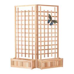 All Things Cedar - All Things Cedar PL30U-Twin 4pc. Planter Set w/ Trellis Screen - Set includes:  2 - PL30U Planter Boxes with 1 - TS33U-2 Hinged Trellis Set.    Dimensions:   66 x 12 x 84 in. (w x d x h)