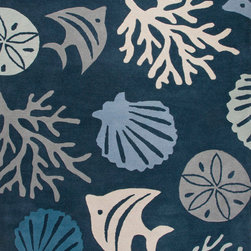 Jaipur Rugs Hand Tufted Coastal Pattern Wool Blue Ivory
