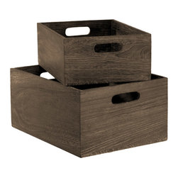 Feathergrain Wood Bins - Use these wooden storage boxes for books, toys or craft supplies. Personalize them by tying simple chalkboard tags to the handles or adding inexpensive casters to the bottoms.
