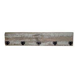 Board Coat Hook & Shelf - Reclaimed fence board coat hook with bonus mini shelf.  5 chrome plated hooks