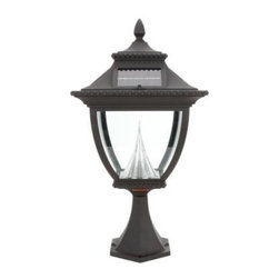 """Gama Sonic - Gama Sonic Outdoor Lighting. Pagoda 22 in. Solar Lamp with 8 Solar LED Bulbs, Po - Shop for Lighting & Fans at The Home Depot. The Pagoda solar post mount lamp is crafted from durable cast aluminum and has patented technology that allows the light to shine brighter and cover a larger area then most solar lamps in the market today. I has a light output of approximately 50 watts and will last up to 8-10 hours on a full charge. It has beveled glass around the lamp and is a perfect """"Green"""" way to illuminate your patio or landscape setting."""