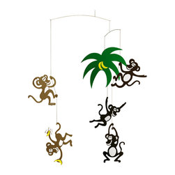 Flensted Mobiles - Monkey Tree Mobile - Monkey around all you like. This happy bunch won't mind. Hanging from a palm tree, some with bananas in hand, this playful mobile will bring a smile to your face wherever it's placed.
