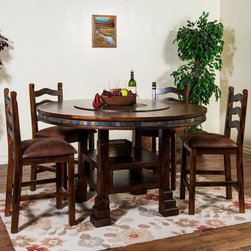 """Sunny Designs - Santa Fe 5 Pc Table and Slatback Barstool Set - Santa Fe 5 Pc Table and Slatback Barstool Set; This set includes table and 4 barstool; Distressed birch solids and veneers; Natural slates; Adjustable heights (30""""H-36""""H); Pop-up lazy susan (34""""R) with slate; Granite center (18""""R); Weight: 339.4 lbs; Dimensions:Table: DIA 60"""" x 30""""-36""""; Chair: 24""""H"""