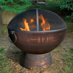 "26"" Fire Bowl with Spark Screen - Hand-crafted steel and wrought iron come together to create the gorgeous 26"" Fire Bowl with Spark Screen. -Mantels Direcct"