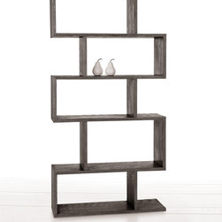 Carmine Grey Limed Oak Bookshelf - Store favorite volumes or the relics of your travels in the architectural shelves of the Carmine bookshelf.  Constructed as a series of open-backed shadowboxes, the five deep, staggered shelves are veneered in deep gray limed oak, resulting in attractive pale grain over a shadowy charcoal hue that coordinates with so many graceful transitional color schemes.  The versatile Carmine bookshelf can rest on the floor or be mounted to the wall.