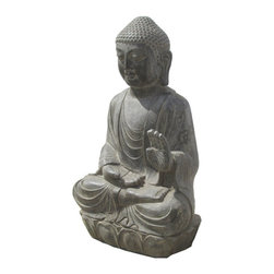 Golden Lotus - Chinese Antique Stone Hand Carving Sitting Buddha Statue - Look at this Chinese sitting Buddha statue which is made of stone.  It should be perfect to decorate your garden.