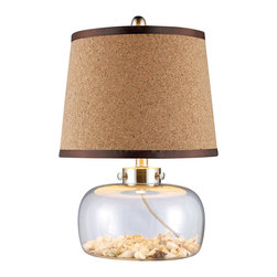 Dimond Lighting - Dimond Lighting D1981 Margate 1 Light Table Lamps in Clear Glass And Shells - Margate Table Lamp in Clear Glass with Shells Inside and Cork Shade with Chocolate Gros-Grain Trim and Cream Liner